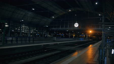 punctuality : Empty railway station in Bordeaux at night wide shot