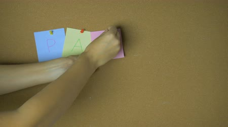 segnalibri : Party. Hands pining sticky notes on pin board funny animation