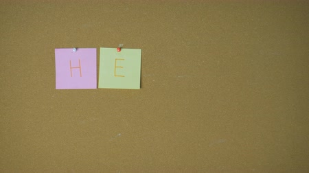 szervez : Hello. Hands pining sticky notes on pin board funny animation