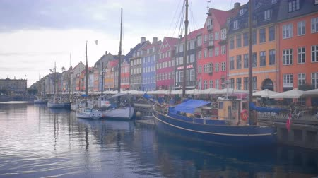 caffe : Nyhavn Copenhagen City Center New Harbor Stock Footage