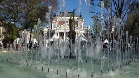sofia : The beautiful pond in front of Ivan Vazov National Theatre in Sofia, Bulgaria. Slow Motion.