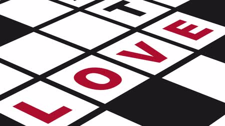 kavramsal : Animation of a conceptual crossword puzzle about love and hate Stok Video