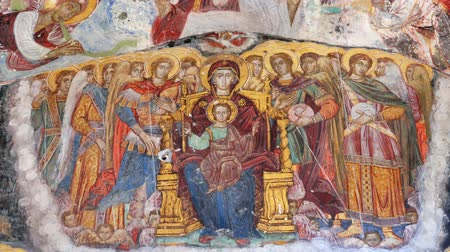 iconography : Zooming in on the ancient religious paintings at the interior walls of famous Sumela Monastery in Trabzon Turkey