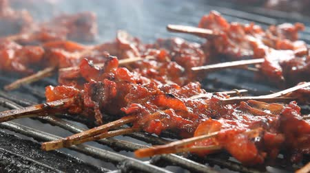 grelha : Grilled chicken skewers on a hot stove Thailand style. Vídeos