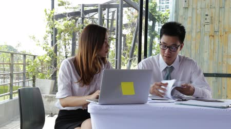 briefing : Businessman and Businesswoman work business planning, Teamwork for Success organization.