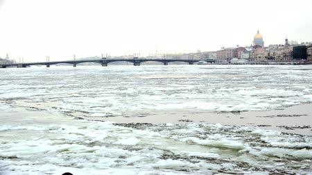 paneling : The course of the ice on the river Neva Stock Footage