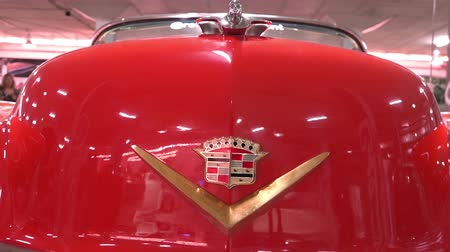 хром : Logo CADILLAC close-up and ornament brand ELDORADO 1954 release Стоковые видеозаписи