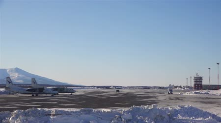 база : Airport Sokol Magadan region in the Far East of the Russian winter