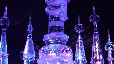harbin : Russia, Saint-Petersburg, December 27, 2015 ice princess castle from a fairy tale shines and shimmers in the rays of light like a diamond Stock Footage