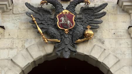 great story : Russia, Saint-Petersburg, Petropavlovsk gates, December 27, 2015 double-headed eagle coat of arms of the Great Powers on the fortress