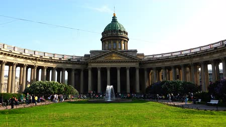 sobor : Kazan Cathedral in the Empire style Stock Footage