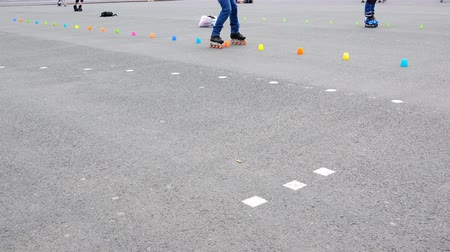 slalom : roller skating with obstacles