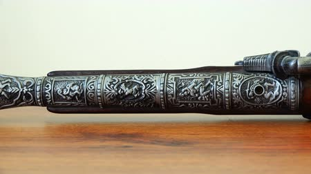 collectible : engraving on the steel of a musket in the form of soldiers Stock Footage