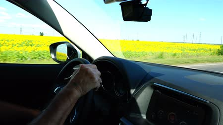 odometer : A man drives a car at high speed along the road near a field with yellow flowers