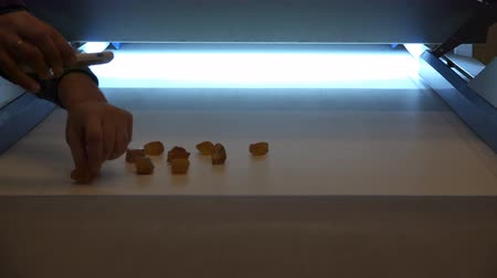 cenný : translucence by light of valuable ornamental stones on a white conveyor belt.