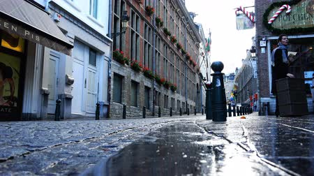 kočičí hlava : Belgium, November 24, 2017, Brussels is a small street, on the balconies of the building of which are planted red flowers