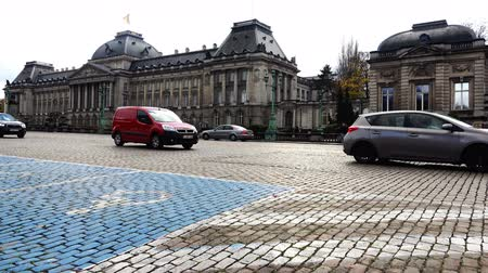 pedestrian crossing : Belgium, November 24, 2017, Brussels road with blue marking zone for disabled parking Stock Footage