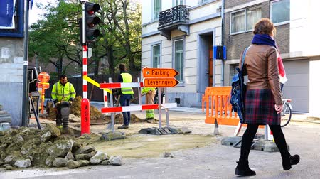 paving : Belgium, 22 November 2017, Leuven, repair work on the streets of the city Stock Footage