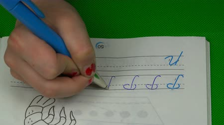 hromakey : The childs hand writes the letter P in the notebook in words. Stock Footage