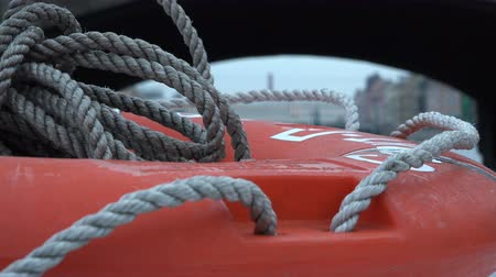 lifebuoy : braided sea rope on the lifebuoy.