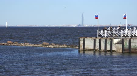 moorage : Russia, May 09, 2018, Peterhof view from the bay to the skyscraper