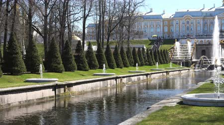 imperial : Russia, May 09, 2018, Peterhof small fountains along the sea channel