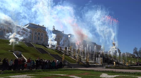 firework display : Russia, May 09, 2018, Peterhof, fireworks near the palace with fountains. Stock Footage