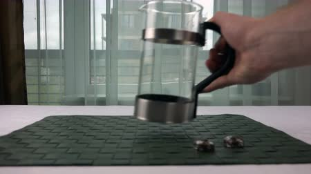 teacup : a glass teapot is on the table unassembled. Stock Footage