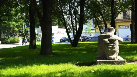 body building : Russia, July 16, Vyborg, a stone monument in the city park