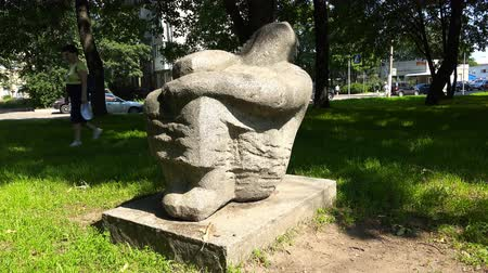polinésia : Russia, July 16, Vyborg, a stone figure on the grass in a city park Stock Footage