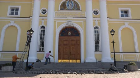 restorer : Russia, July 16, Vyborg road and electrical repairs at the entrance to the church
