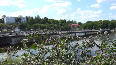 inculto : Russia, July 16, Vyborg movement of vehicles and people on the Fortress Bridge
