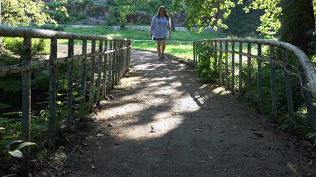 city park : girl passes the iron bridge in the fairy forest.