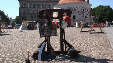macskaköves : Russia, Vyborg, July 15, 2018 exhibition on the square dedicated to the execution
