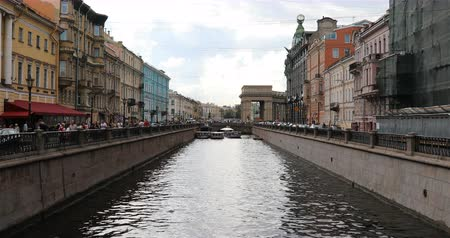 griboedova : Russia, St. Petersburg, September 02, 2018 the heat ships pass through the canal