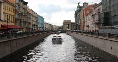 griboedova : Russia, St. Petersburg, September 02, 2018 the ship passes through the canal among the streets of the city. Stock Footage