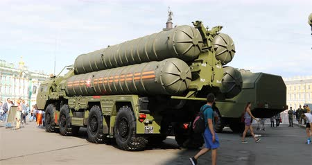 rocket launcher : Russia, St. Petersburg, September 02, 2018 Russian long and medium range anti-aircraft missile system.