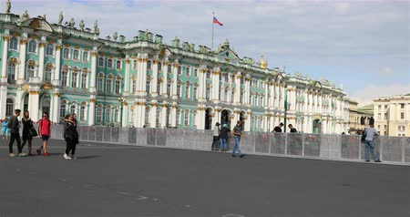 alexander column : Russia, St. Petersburg, September 02, 2018 Fencing on the Palace Square of St Petersburg
