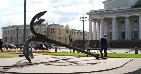 barriers : Russia, St. Petersburg, September 02, 2018 the anchor lies on a concrete slab