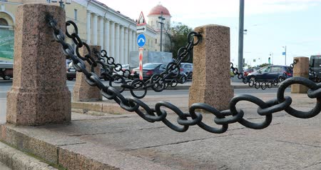 architectural protection : Russia, St. Petersburg September 02 2018 chains on the pavement