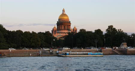 neva river : Russia, St. Petersburg, 2018.0902 view from the river to St Isaacs Cathedral Stock Footage