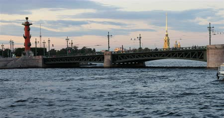 neva river : Russia, St. Petersburg, September 02 2018 double-deck motor ship passes along the river near the bridge. Stock Footage