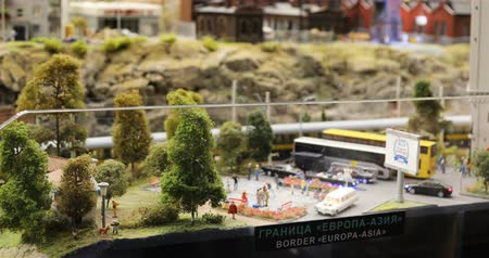 miniatűr : Russia, St. Petersburg, September 29, 2018 movement of the train on the model of the city Border Europe-Asia