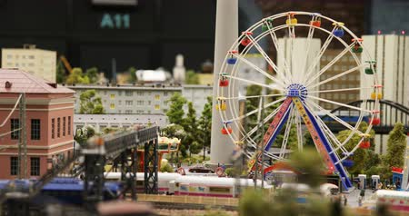 private museum : Russia, St. Petersburg, September 29, 2018 rotation of the Ferris wheel at the railway on the model of the city