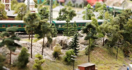 private museum : Russia, St. Petersburg, September 29 2018 passenger train follows the mountainous terrain