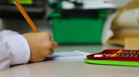 borracha : folded pencils with an eraser in the pencil case on the students desk. Vídeos