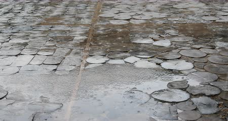 granit : Rain drops are shattered on the puddles on the street.