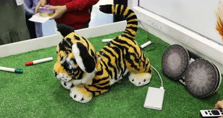 panthers : Robot toy in the form of small tiger is playing with children.