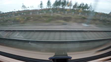 reiziger : The view from the window of the high-speed train. Stockvideo