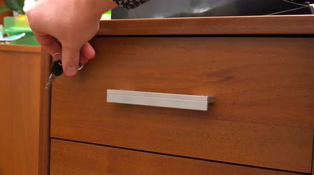 stationary : lock the drawer of the bedside table with a key.